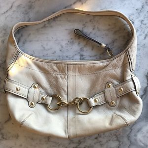 Coach Cream Leather Hobo Bag with Gold Hardware